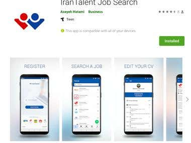 IranTalent Job Search - ReactNative app for both platforms