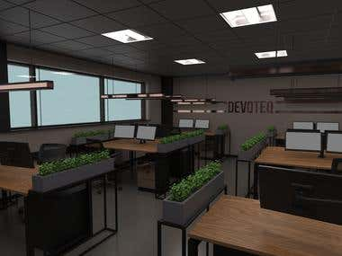 Interir design and layout for office space and renderings
