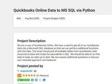 Quickbooks online data transfer to SQL SERVER using Python