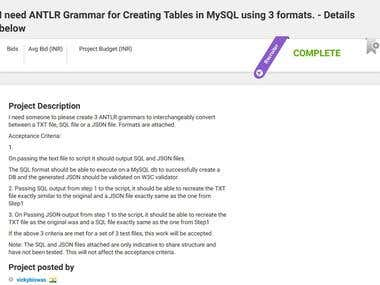 ANTLR GRAMMER Parsing and converting