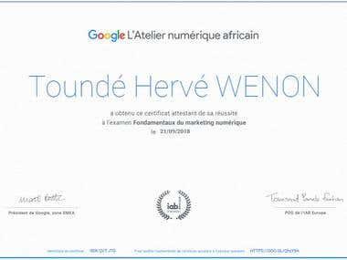 Certification du de l'Atelier du Google Numérique