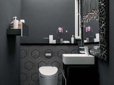 Interior design of a modern bathroom using 3Ds max, V- ray