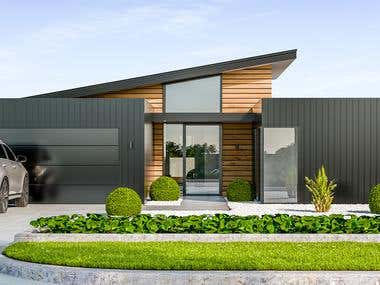 Exterior 3d design of house