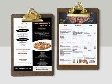 Menu is for a pizza restaurant