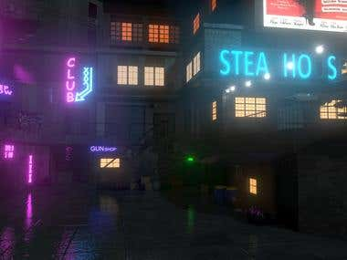 A silent street with neon lights
