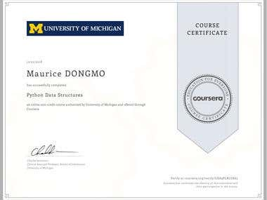 Python Data Structures Certification -University of Michigan