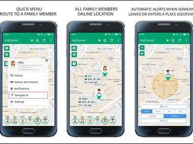 Mobile Kid-Control App : Google Map, GPS tracking