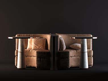 Furniture rendering and modelling work.