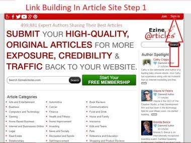 Article writing,Posting and Link building