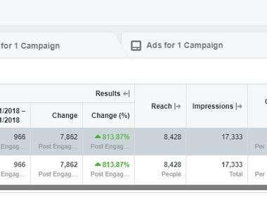 Facebook Ads - engagement sample