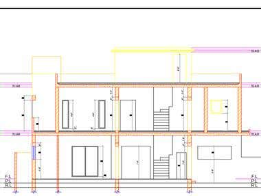 side elevation of a double story building