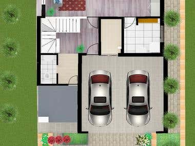 2D colorful plan