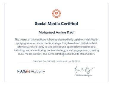 Socail Media Certified from HUBSPOT