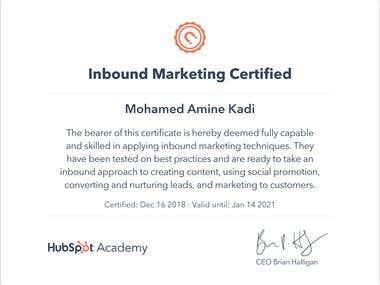 Inbound Marketing Certified from HUBSPOT