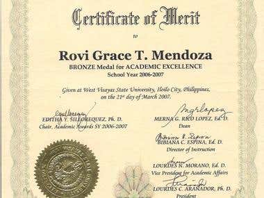 BRONZE MEDAL FOR ACADEMIC EXCELLENCE