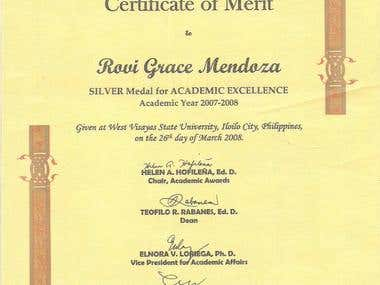 SILVER MEDAL FOR ACADEMIC EXCELLENCE