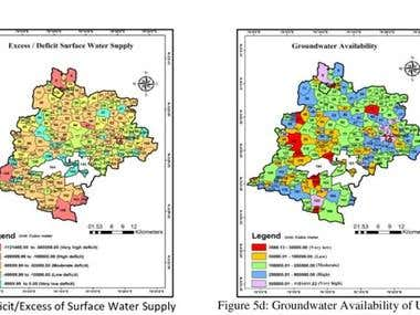 Mapping of water demand and supply of area