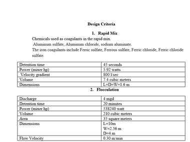 Conventional water treatment plant design parameters