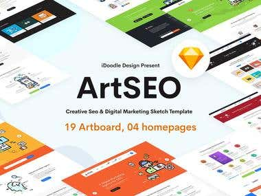 SEO & Digital Marketing Sketch Template