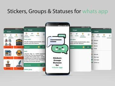 Stickers, Groups, and Statuses for whats app