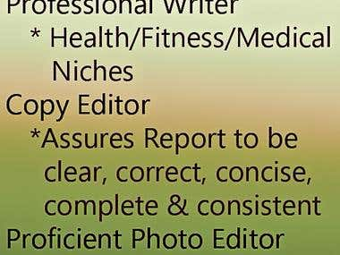 Passionate Writer. Copy and Photo Editor