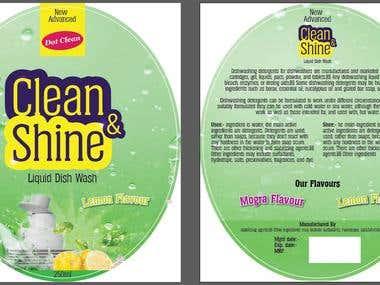 Clean & shine Liquid hand vash 250ml Label design