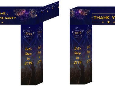 New yer party 2019 stage backdrop & gate design
