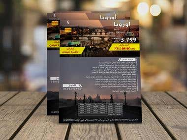 Flyer design Arabic for TOURLINE TRAVEL