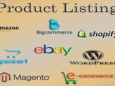 product listing for amazon,ebay,opencart, shopify, manually