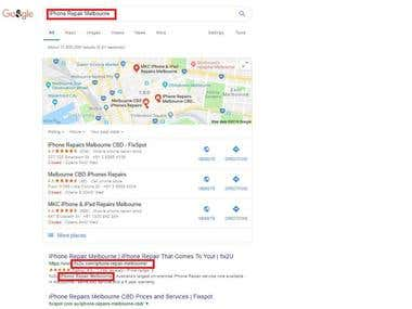 Australian Local Site keywords Ranking in Google