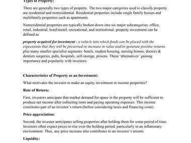 Discuss the qualities of property (real estate) as an invest