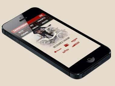A mobile friendly website design for a musician.