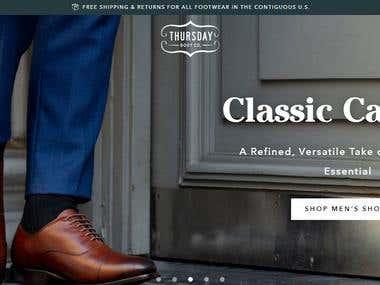 Shopify Website design and development - Thursday boot