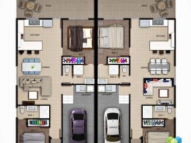 Various style 2D plan render