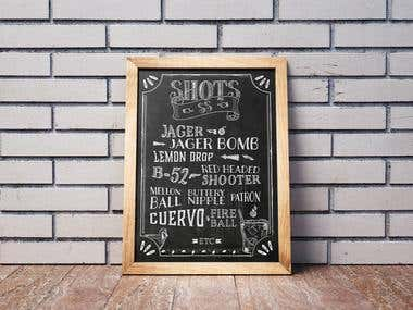 Chalk Board Menu.
