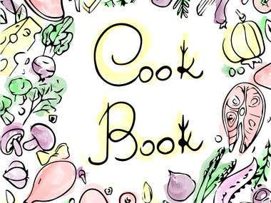 "Vector ""Cook book"" cover in sketch style"