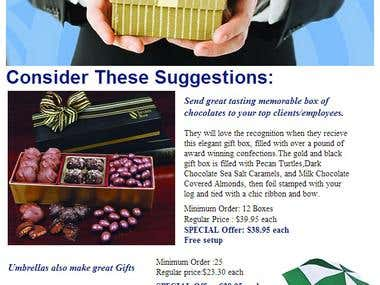E-mail template newsletter for confectionery product.