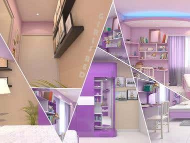 Interior Girls Bed Room