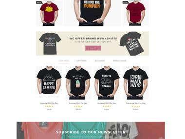 T-Shirt e-commerce web page design concept.