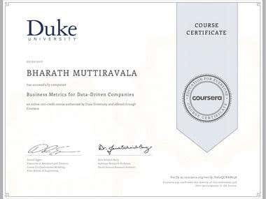 Coursera Certificate: Business Metrics for Data-Driven Compa