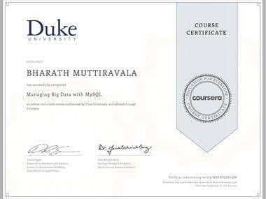 Coursera: Managing Big Data with MySQL