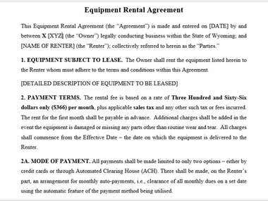Equipment Rent Agreement