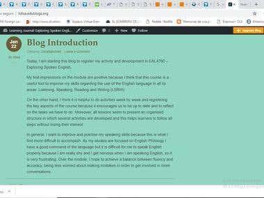 Learning Journal: Exploring Spoken English
