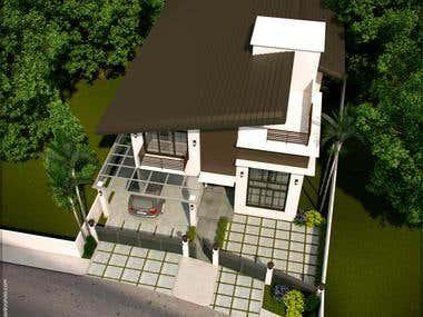 2 Storey Modern House(Sketchup 3dsmax Vray)