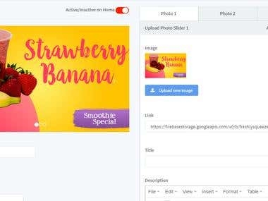 Reataurant App AdminPanel Dashboard