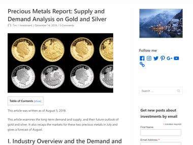 Precious Metals Report: Supply and Demand Analysis on Gold