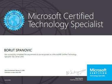 Microsoft SQL Server 2005 certifications