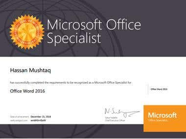 My Microsoft Office Specialist Certification