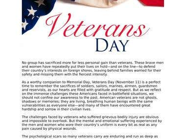 Veterans Day Article Substance Abuse, Mental Health