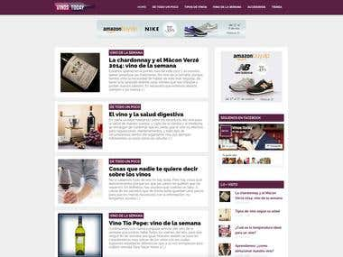 Diseño web de blog de vinos sobre wordpress
